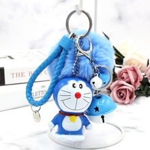 Cute Cartoon Doraemon Rabbit Fur Ball PomPom Pom Poms Keychain Women Leather Strap Metal Key Ring Chains Car Bag Charm Pendant недорого