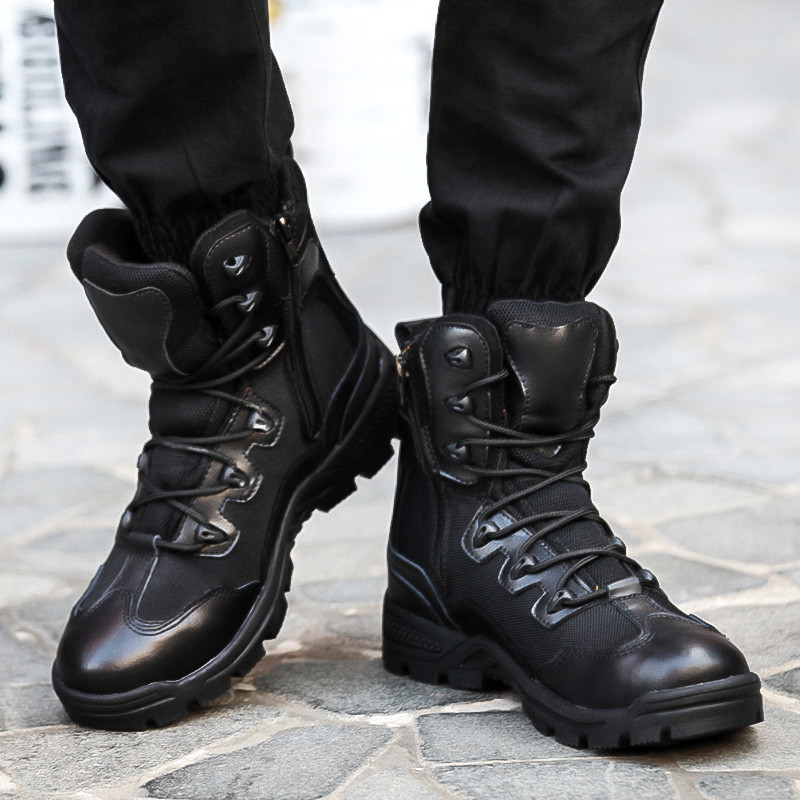 Men Black Combat Boots - Cr Boot