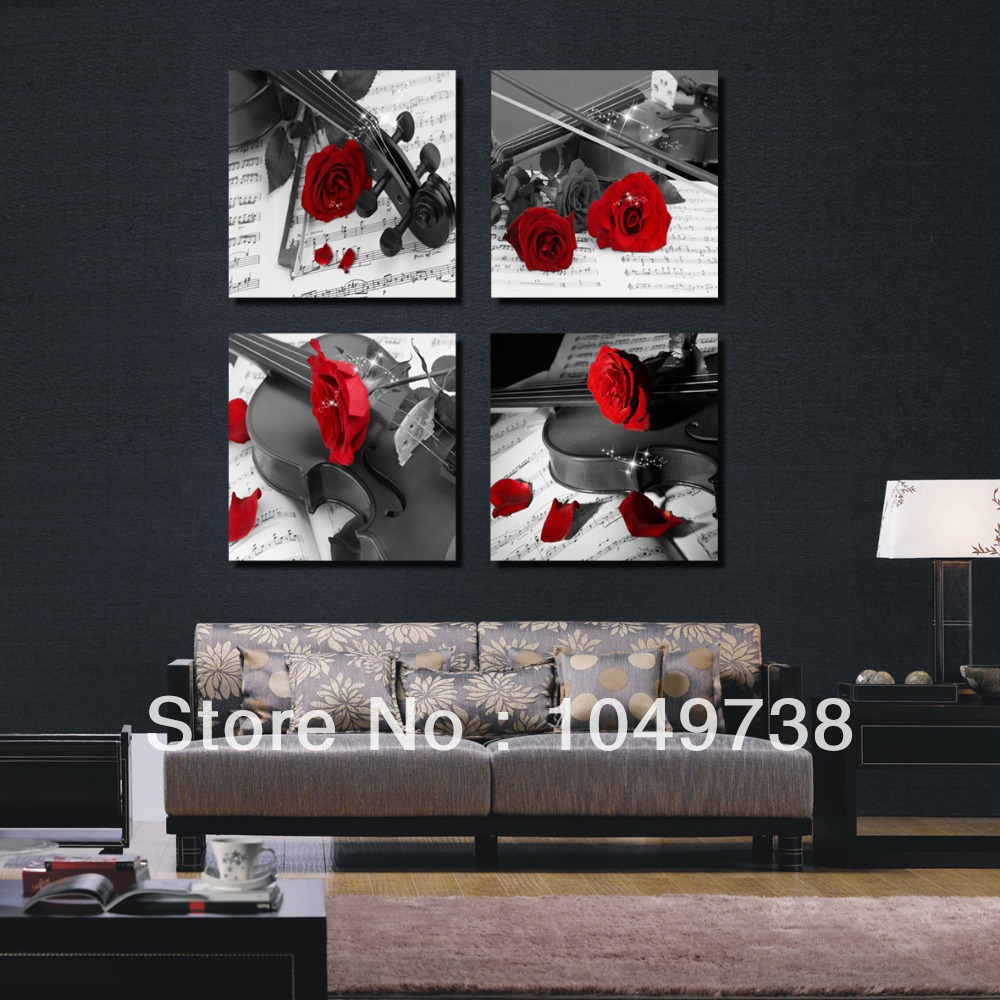 Free Shipping 4 Panel Wall Art Red Rose Modern Black And White Pictures Music Paintings For Living Room