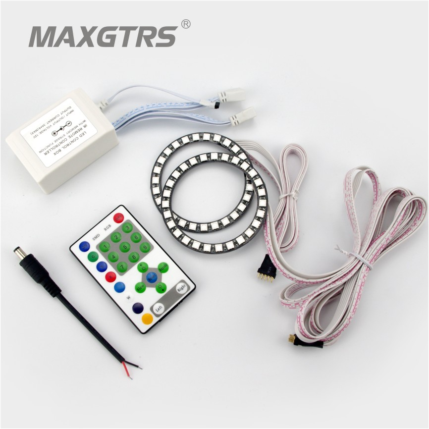 2x80mm RGB 27SMD 5050 Angel Eyes 7Colors RGB Headlight Multi-Color LED Angel Eyes Kit Projector Running For Universal Car 2pcs purple blue red green led demon eyes for bixenon projector lens hella5 q5 2 5inch and 3 0inch headlight angel devil demon