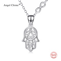 100% Real Pure 925 Sterling Silver Hamsa Hand Necklace Hand Of Fatima Infinity Love Pendant Necklace Collier For Women Jewelry