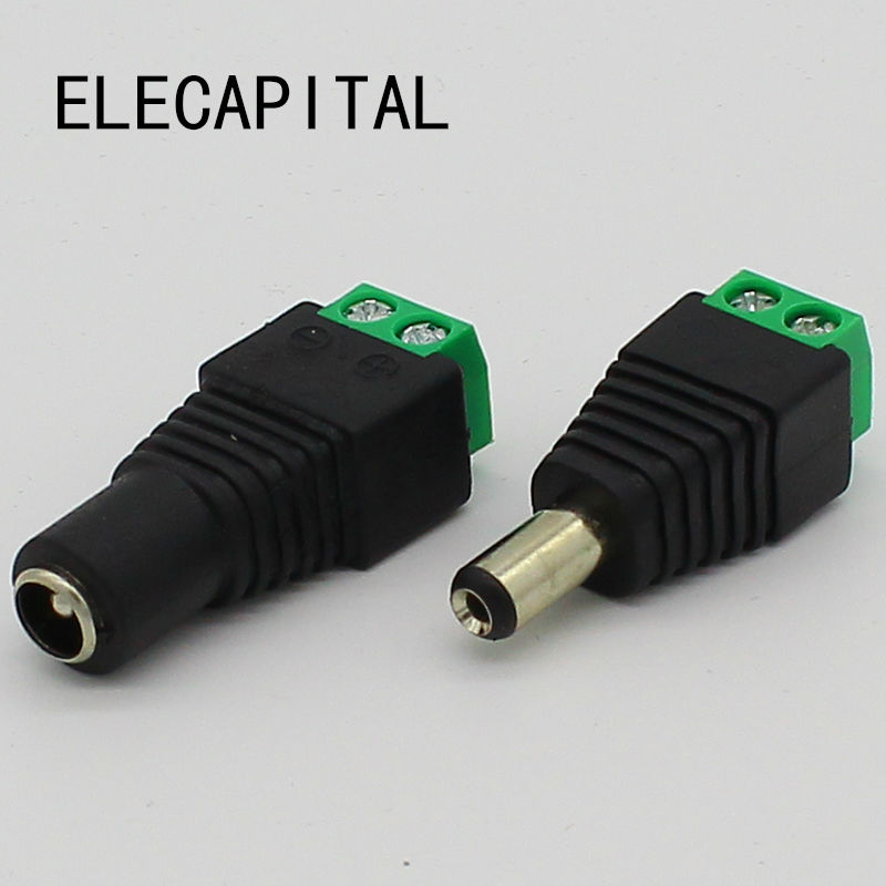 No soldering 2.1x5.5mm Power DC Jack Plug Socket dc Connector Female + Male DC Plug Jack Adapter Wire Connector CCTV Connector 20pcs 5 5mm x 2 1mm round dc socket panel mounting power adapter dc power jack socket connector plug receptacle plastic