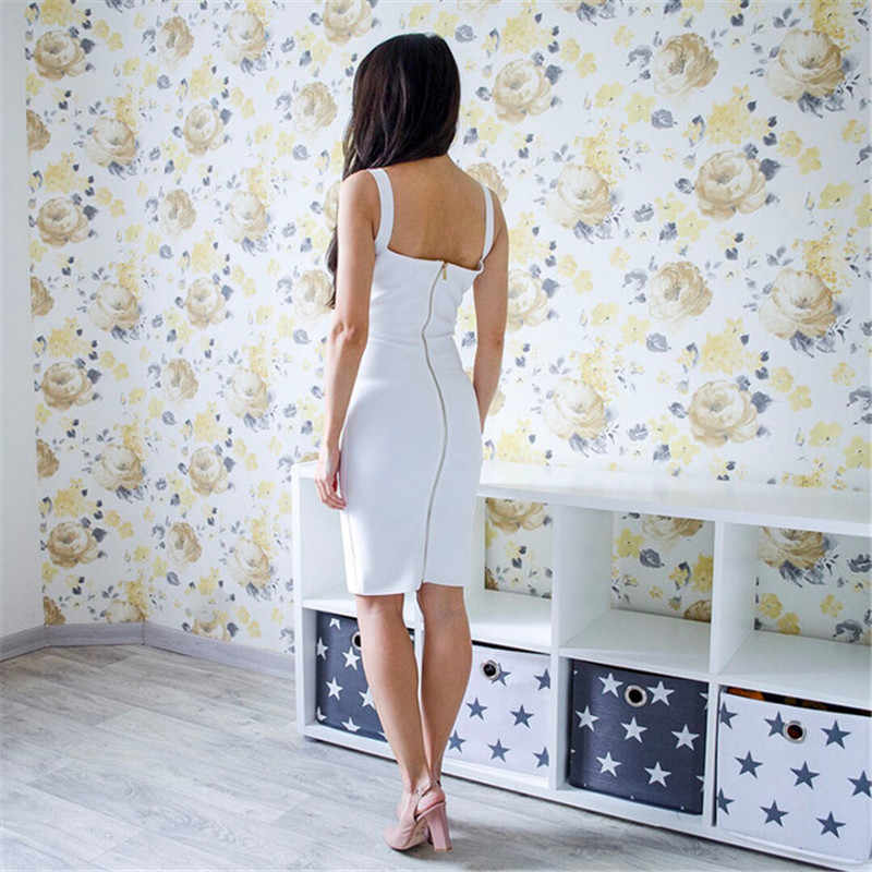 Baru Kedatangan Putih Bodycon Perban Gaun Wanita Spaghetti Strap Deep V-Leher Selebriti Pesta Malam Seksi Klub Gaun Wanita Vestidos
