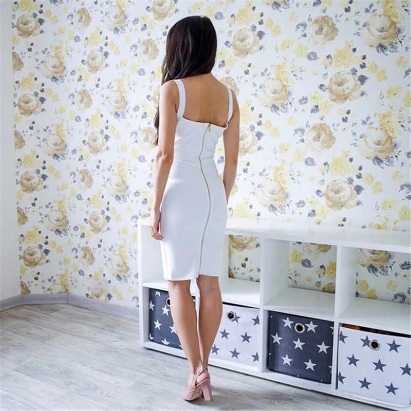 Nouveauté blanc moulante robe de pansement femmes Spaghetti sangle profonde col en v célébrité soirée Sexy robe de Club femmes robes