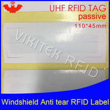 RFID tag UHF sticker vehicle windshield EPC 6C 915m 868m 860-960M Alien Higgs3 anti-tear adhensive passive printable RFID label