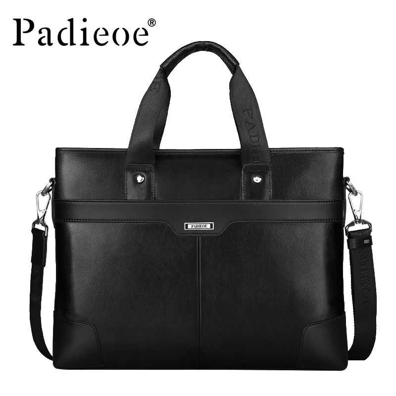 Padieoe New Fashion Men s Business Shoulder Bag Famous Designer Handbags Genuine Leather Briefcase High