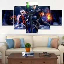 5 Pieces Canvas The Nightmare Before Christmas Modular Pictures panel painting Wall Art poster and prints F536