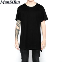 New Mens Streetwear Hip Hop Clothes Kpop Urban Clothing Justin Bieber Longline T Shirts Extended Short