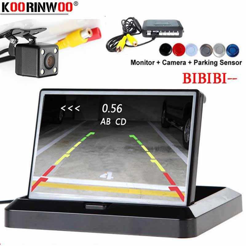 Koorinwoo Originele 2.4G Parktronic Dash Auto parkeersensoren 4 Buzzer Alert Monitor Mirror Car Achteruitkijkspiegel Camera Radar Zwart Zilver
