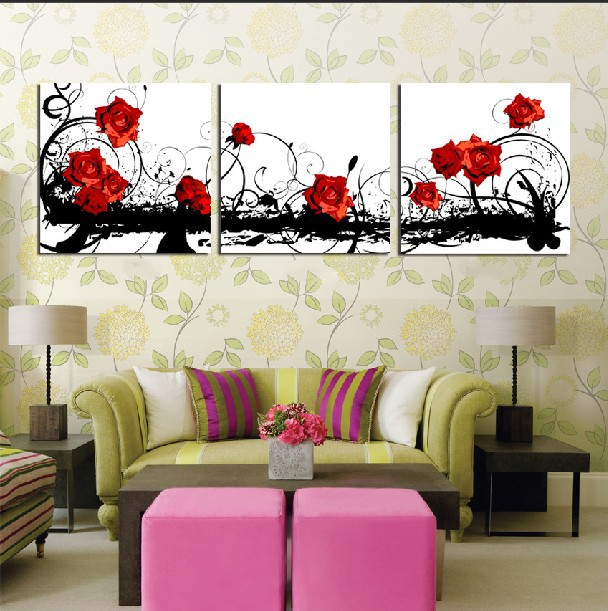 3 Panel Hot Modern Wall Painting Home Decorative Art Picture Paint On Canvas Prints Blood Red Beautiful Roses