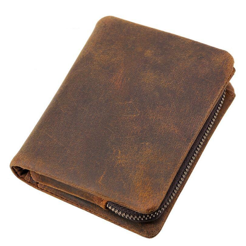 Kalfsleren Portemonnee.Handmade Vintage Crazy Horse Men Cowhide Coin Pockets Purse Retro Clips Portemonnee Leren Genuine Leather Male Wallets