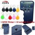 Handheld 125KHz EM4100 RFID Copier Writer Duplicator Programmer Reader + 10pcs EM4305 Rewritable ID Keyfobs Tags Card T5577 5200