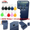 Handheld Leitor de 125 KHz EM4100 RFID Copiadora Escritor Duplicador Programador + 10 pcs EM4305 Regraváveis Keyfobs ID Tags Cartão T5577 5200