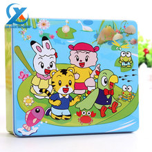 100pcs/set Cartoon Wooden Jigsaw Puzzle Toy Set Children Educational Early Learning Jigsaw Toy Montessori Iron Box Toys for Kids
