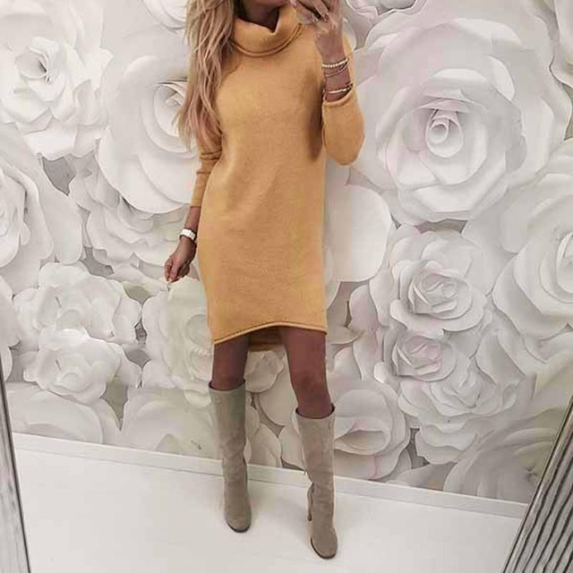 Long Sleeve Solid Color Ladies Loose Casual Dress