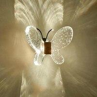 Детские светодиодный бабочка Настенный светильник (бра) Детские Спальня пузырь с украшением в виде кристаллов настенный светильник светод