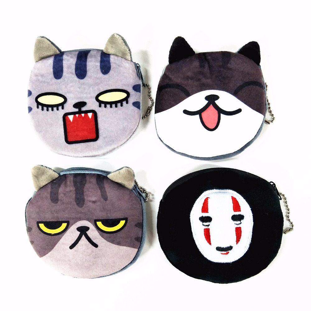 Quality In M151 New Cute Women Purses Cartoon Creative A Variety Of Expressions Plush Cat Coin Purse Wallet Card Bag Girl Gift Wholesale Excellent
