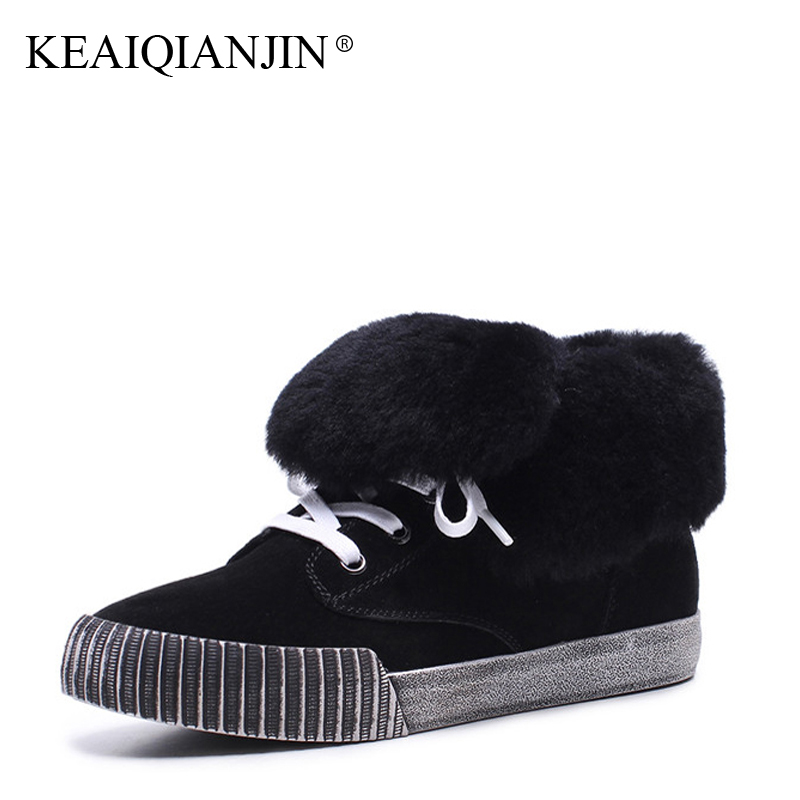 KEAIQIANJIN Woman Lace Up Snow Boots Black Brown Winter Genuine Leather Platform Shoes Plus Size 34 - 43 Fur Ankle Boots 2017 цены онлайн