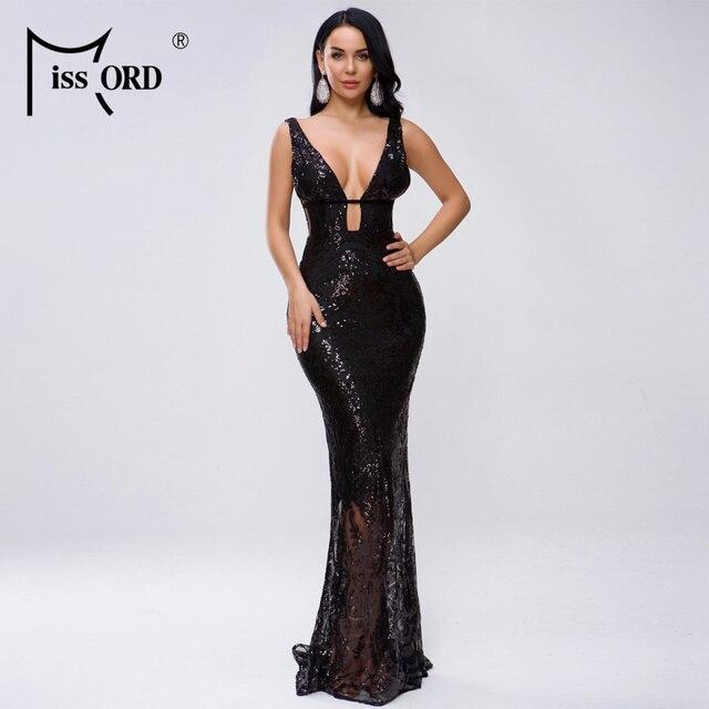 Missord 2019 Women Sexy Deep V Off Shoulder Hollow Out Sequin Dresses Female Elegant Maxi Dress  FT19463 1
