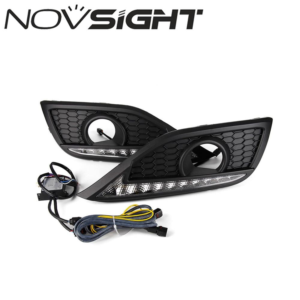 купить NOVSIGHT Auto Car LED Driving Daytime Running Lights Turn Signal White Yellow Pair For Honda CRV 2012 по цене 3038.18 рублей