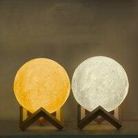 Iguardor 3D Moon Light LED USB Recharge Luna Lamp Night Light Touch Control Dual Color With