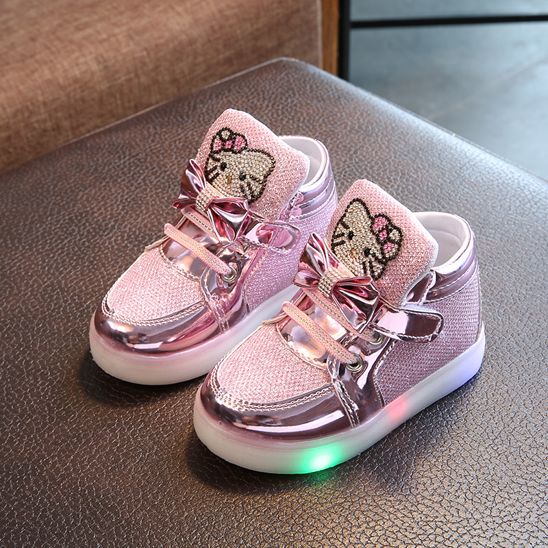Kids Shoes With LED Light Girls Glowing Sneakers Hello Kitty Colorful LED Fashion Children Casual Shoes Girls Luminous Sneakers