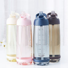 Large Capacity Straw Sports Water Bottles With Handle BPA Free Protable Healthy Plastic Outdoor Travel Bottle My Drink Bottle(China)