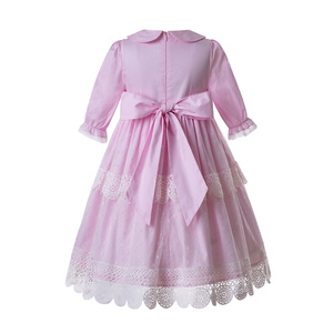 Image 2 - Pettigirl New Pink Girl Maxi Dress Lace Long Dress  With Hair Accessories AndFlower Boutique Kids Clothing (Dress under Knee)