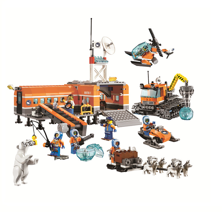 ФОТО 10442 City Arctic Base Camp Ice driller Helicopter Building Block set Arctic explorers Pilot figures 60036 Compatible