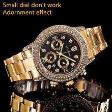 a46ced6e7454 Marca de lujo relojes plaza llena de diamantes reloj de oro del rhinestone  de las mujeres diseñador suizo de relojes de pulsera .