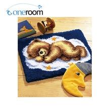 5TH ZD004 bear sleeping Hook Rug Kit DIY Unfinished Crocheting Yarn Mat Latch Hook Rug Kit