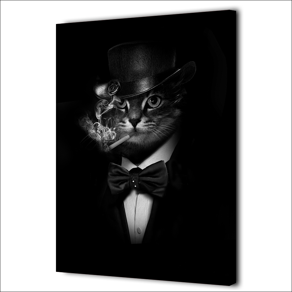 Superieur 1 Pieces Smoking Gentleman Cat Wall Art Canvas Pictures For Living Room  Printed Canvas Painting Wedding Decoration In Painting U0026 Calligraphy From  Home ...