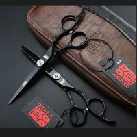 6 0inch Kasho Black Paint Plum Handle Hair Scissors Barber Cutting Thinning Flat Sharp Shears Professional