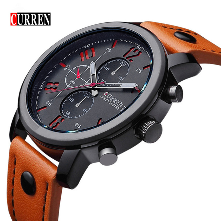 Montre Homme CURREN Brand Fashion Casual Business Watches Men Waterproof Leather strap Quartz Mens Watch ClockRelogios Masculino
