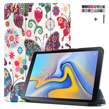 """Case For Samsung Galaxy Tab Advanced 2 10.1"""" SM T583 Printed Stand Flip Leather Cover For Samsung SM T583 Capa Fundas+Stylus"""