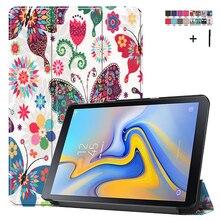 """מקרה עבור Samsung Galaxy Tab מתקדם 2 10.1 """"SM T583 מודפס Stand Flip עור כיסוי עבור Samsung SM T583 קאפה Fundas + Stylus"""