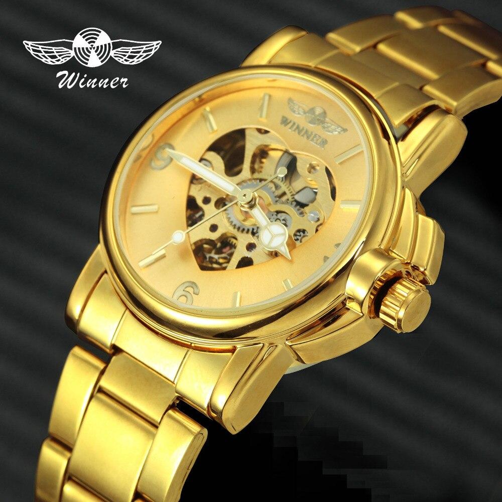 WINNER 2019 Luxury Women Wataches Automatic Mechanical Heart Skeleton Watch Dial Golden Stainless Steel Band Ladies Wristwatch|steel band|steel stainless|steel band watches - title=