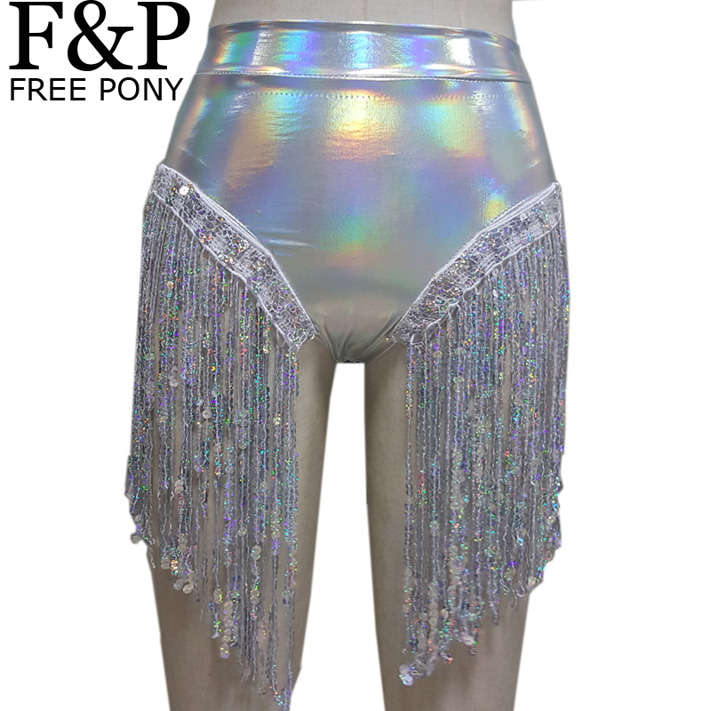 Summer Holographic Festival Rave Wear Clothes Outfits Hologram High Waist Fringe Shorts Women Holographic Fabric Bikini Bottoms As Effectively As A Fairy Does