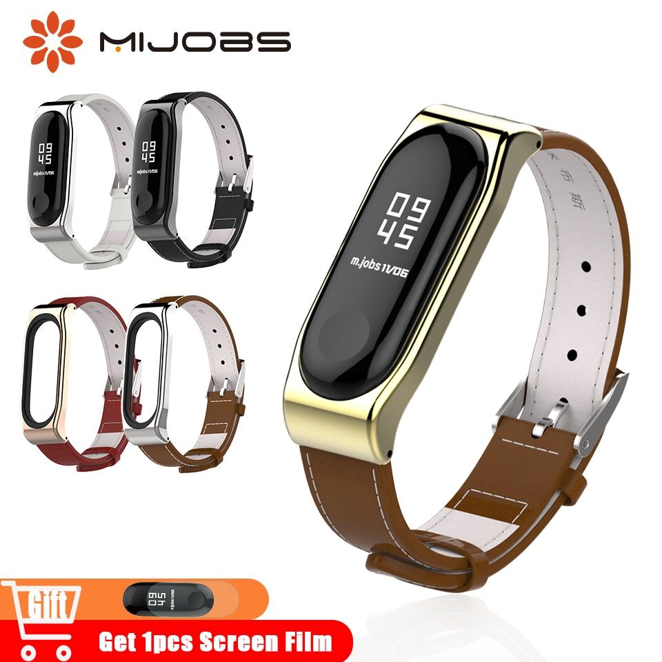 Mijobs Mi Band 4 Wrist Strap Leather for Xiaomi Mi Band 4 Smart Bracelet Watch Wristband Miband 3 Accessories Mi3 Bracelet Strap strap