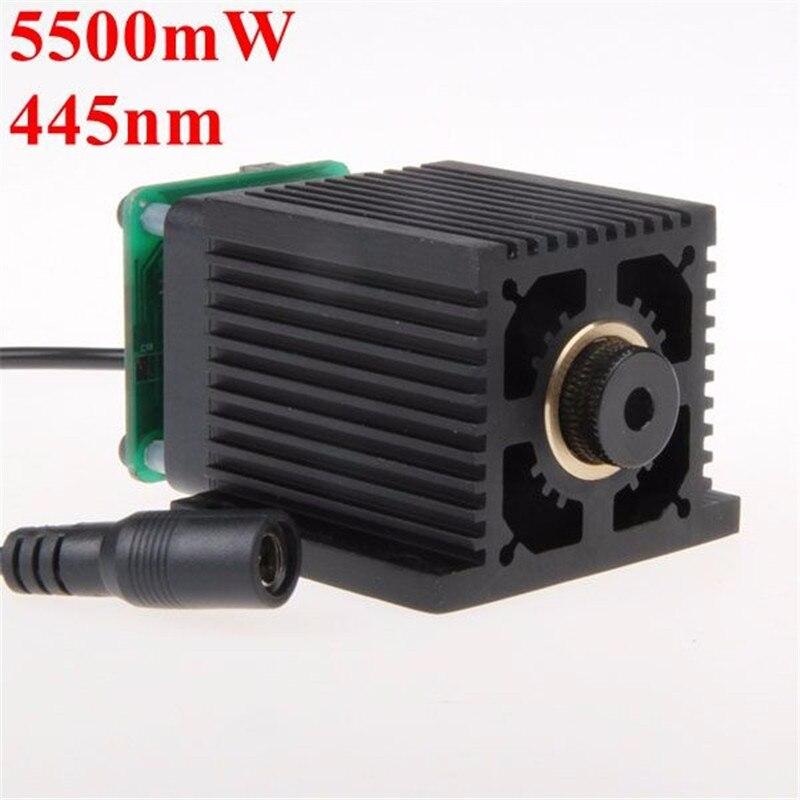 LA03-5500 445nm 5500 mw Blu Laser Modulo Con Dissipatore di Calore Per Il FAI DA TE Macchina Incisore Laser Per EleksMaker
