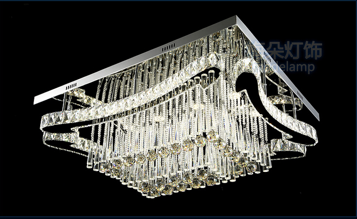 Us 647 92 11 Off New Rectangle Led Crystal Chandeliers Modern Lighting Stainless Steel Lamp Home Light In From Lights