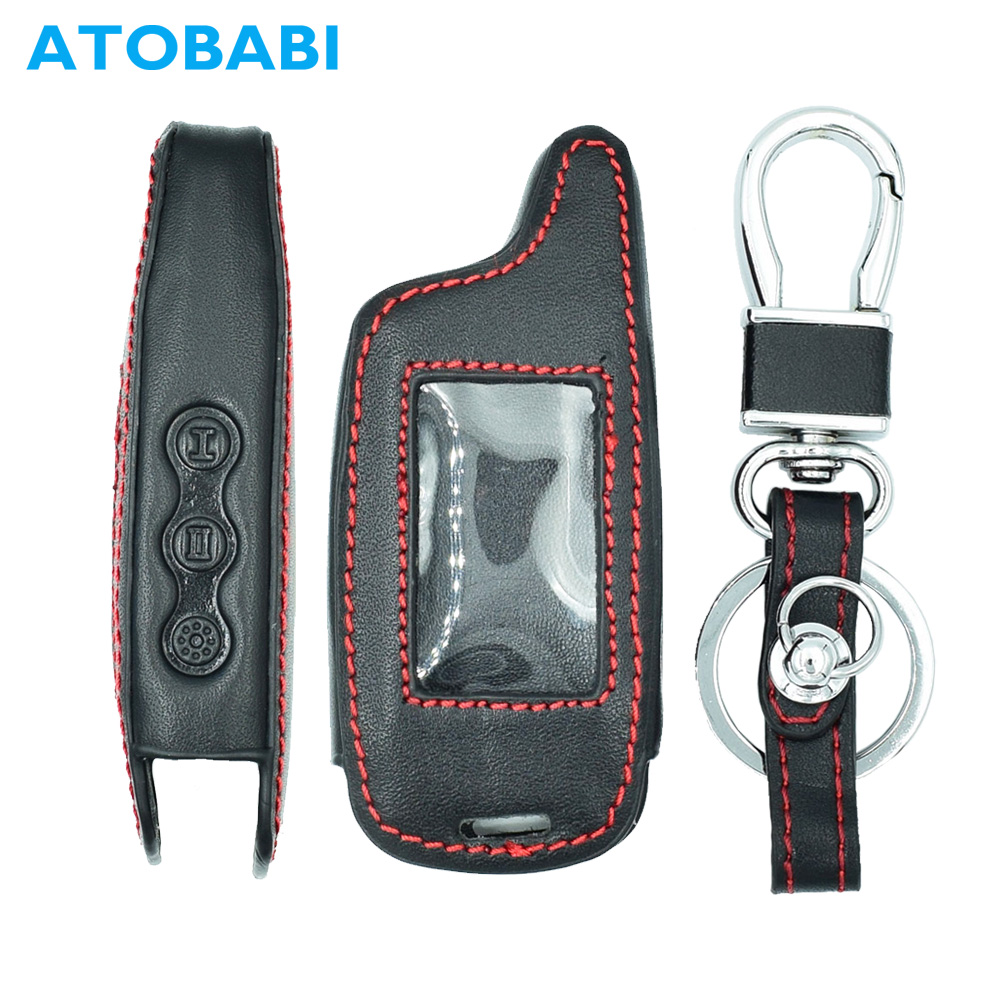 ATOBABI <font><b>A9</b></font> Leather Car Key Case for <font><b>Starline</b></font> <font><b>A9</b></font> <font><b>Twage</b></font> KeyChian Fob Two Way Car Alarm System LCD Remote Controller Cover image