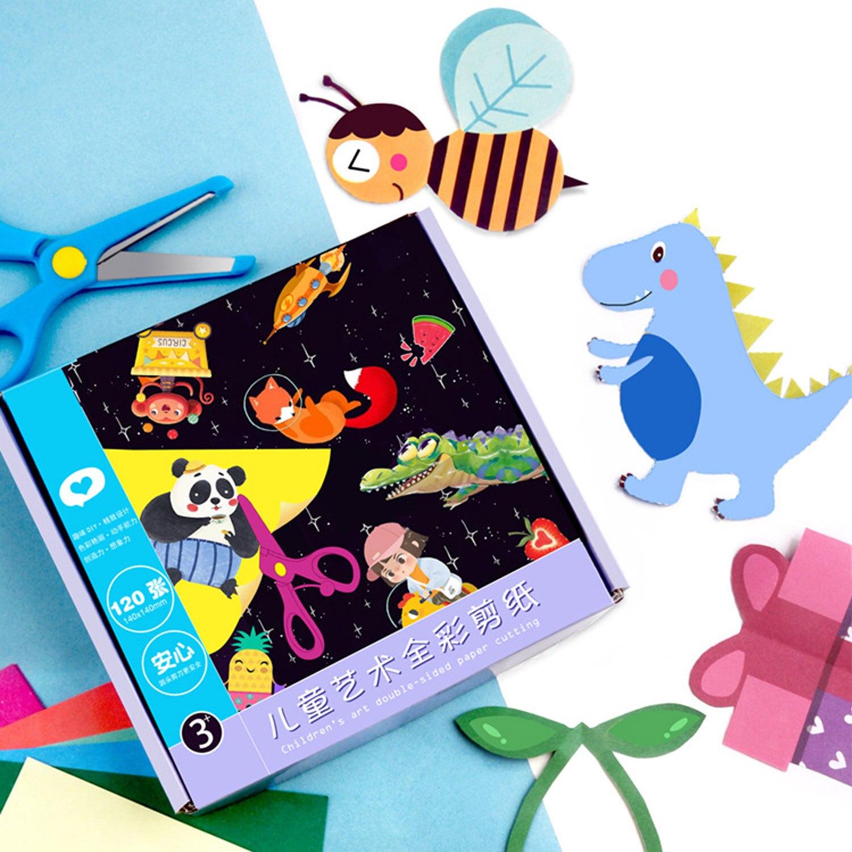 120 seiten Bunte Druck Papier-Schnitte Cartoon Floding Papier Wort Lernen Spielzeug Kindergarten Kunst Liefert Kinder Geschenk DIY Spielzeug