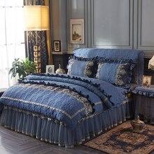 キルティングコットンプリンセス高級寝具セットクイーンキングサイズベッドセットグレーブルーピンクレース布団カバーベッドスカートテーブルカバーセット