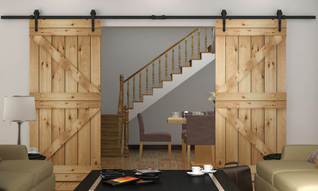 8.2/10/12FT Rustic Sliding Barn Wood Closet Door Interior Sliding Door Bi