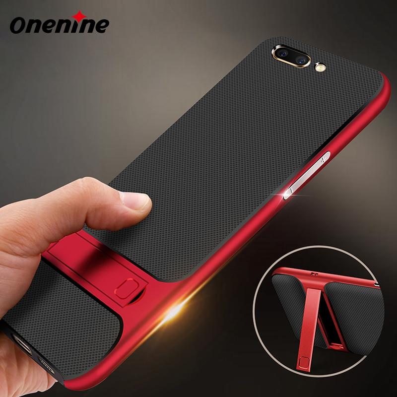 Onenine 3D Kickstand Phone Cases für OPPO R11 Case Cover 5,5 Zoll Luxus Silikon TPU PC Hybrid 360 Schutz Mobile Case Armor