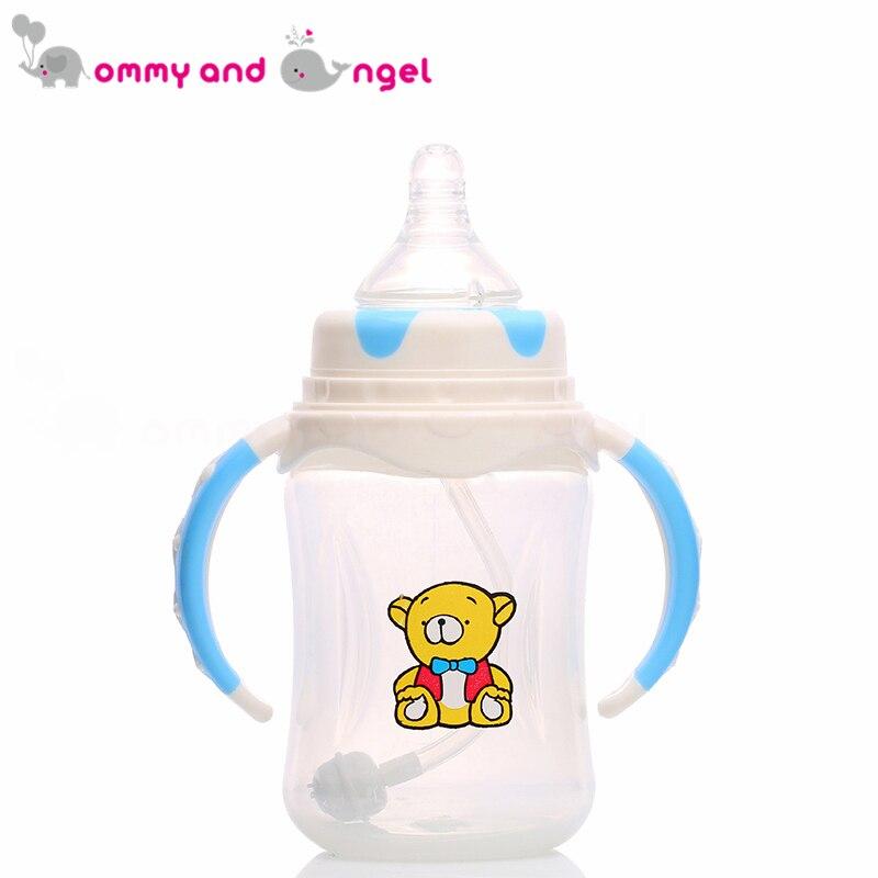 Мама и ангел 240 мл синий и розовый классический мальчик и девочка бутылочку для кормления BPA бесплатно кремния соски молочных бутылочку для ...