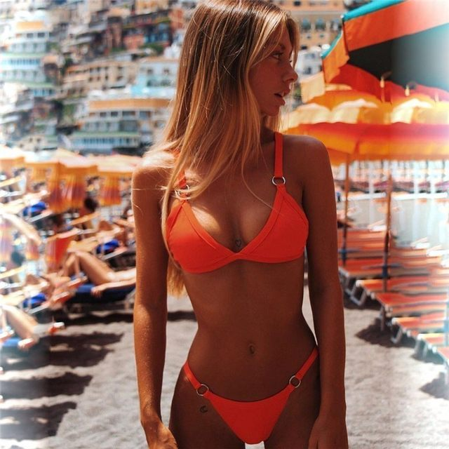 Women Sexy Solid Bikini Set Low Waist Brazilian Bathing Suit Swimwear Summer Swimsuit Female Yellow Beach Wear Biquini 30
