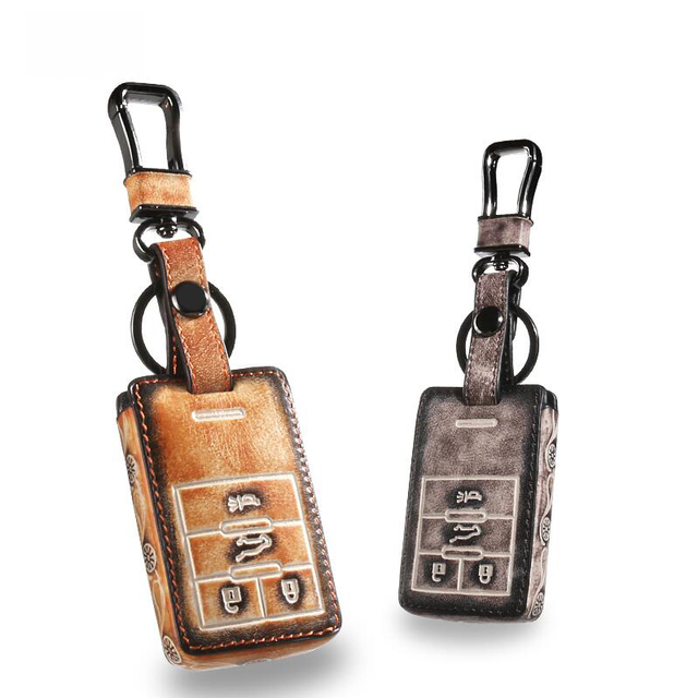 Genuine Leather Car Key Case Fob Cover Fits ForCadillac SRX XTS SLS CTS ATS Smart  Key Rings Keychain Holder bag Auto Accessory