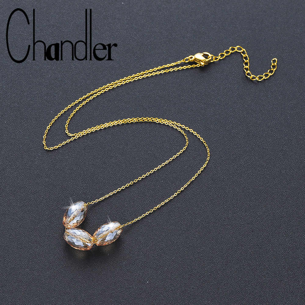 Chandler 1pc Crystal Rhinestone Bead Pendant Necklace For Women Fashion Gold Color Clavicle Necklaces Wedding party Jewelry Gift